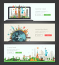 Flat Design Banners, Headers Set Illustration With World Famous Landmarks Stock Image - 67405791
