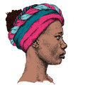 Pretty African American Girl In A Colorful Turban. Beautiful Black Woman. Profile View. Hand Draw Vector Illustration Royalty Free Stock Photography - 67406097