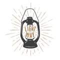 Vintage T-shirt Print With Oil Lamp And Quote. Light My Way. Vector Illustration. Stock Photography - 67407352