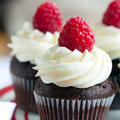 Raspberry Chocolate Cupcakes Royalty Free Stock Images - 67425379