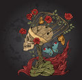 Skull, Bush Of Roses, Snake And  Flame Royalty Free Stock Image - 67434496