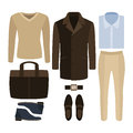 Set Of  Trendy Men S Clothes. Outfit Of Man Coat, Pants, Pullove Royalty Free Stock Images - 67434949