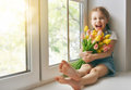 Girl Sitting On The Window Royalty Free Stock Photos - 67448718