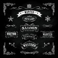 Western Hand Drawn Blackboard Vintage Badge Vector Royalty Free Stock Photos - 67455918