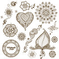 Set Of Vector Ornaments In Indian Style. Mehndi Ornamental Floral Elements Royalty Free Stock Photo - 67469305