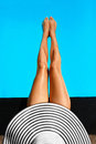 Summer Woman Body Care. Long Female Legs In Swimming Pool Stock Image - 67475291