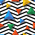 Vector Seamless Geometric Pattern. Multicolor Triangles And Black, White Zigzag Background Royalty Free Stock Photos - 67476278