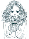 Cute Winter Girl With Coffee Cup Stock Images - 67482684