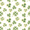 Seamless Pattern With Watercolor Leaves Of Clover For Your Design Royalty Free Stock Photos - 67518158