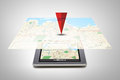 Tablet Pc With Gps Navigator Map On Screen Royalty Free Stock Images - 67531529