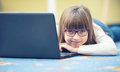 Young Of Beautiful Pre-teen Girl With Tablet Laptop Pc. Education Technology For Teenagers - Adolescents Children Royalty Free Stock Photo - 67532425