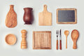 Kitchen Mock Up Template With Wooden Cooking Objects Royalty Free Stock Photo - 67541465