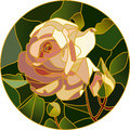 Vector Stained Glass Of Pink Rose Stock Photo - 67543660