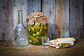 Vodka Decanter, Pickle And Snack Stock Photos - 67554313