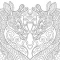 Zentangle Stylized Two Lovely Giraffes With A Heart Royalty Free Stock Photo - 67559165