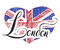 London Hand Lettering Sign With Grunge United Kingdom Flag In Shape Of Heart, Isolated On White Background Vector Illustration Stock Photos - 67567883