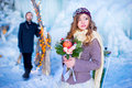 The Bride In The Winter With A Bouquet Of Flowers Stock Photography - 67568812