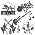 Vector Set Of Rock Festival Labels In Vintage Style. Rock Music Instruments, Microphone, Guitar  On White Stock Images - 67575824