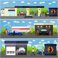 Gas Station, Car Wash And Repair Shop Concept Vector Banners. People Fuel Their Cars. Stock Images - 67576764