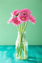 Beautiful Pink Gerbera Flowers Bouquet In Vase Royalty Free Stock Images - 67590829
