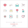 Color Line Icon Set Of Valentine S Day And Marriage Objects And Stock Photos - 67593693