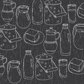 Monochrome Vector Illustration Of Utensils For Dairy Products Stock Photo - 67602170