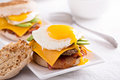 Breakfast Burger With Avocado, Cheese And Bacon Royalty Free Stock Photography - 67614817