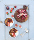 Healthy Breakfast Set. Bowls Of Oat Granola With Yogurt, Fresh Strawberries, Figs, Pomegranate Andd  Honey Over Light Royalty Free Stock Photos - 67619788