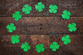 Paper Green Clover Shamrock Leaf Border Frame On Dark Wooden Background Stock Photos - 67636503