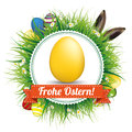 Frohe Ostern Eggs Hare Ears Emblem Royalty Free Stock Images - 67642879