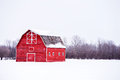 Bright Red Barn In Winter Landscape Stock Images - 67658934