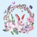 Watercolor Spring Happy Easter Wreath Royalty Free Stock Photography - 67670827