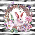 Watercolor Spring Happy Easter Wreath Stock Images - 67670864