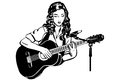 Vector Sketch Of A Girl Playing The Guitar In Front Of A Microph Stock Photo - 67683200