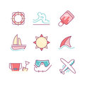 Travel And Summer Vacation Sings Set. Thin Line Art Icons. Flat Royalty Free Stock Photos - 67693268