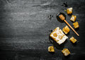 Honey Background. Natural Honey Comb And A Wooden Spoon . Royalty Free Stock Photography - 67698727