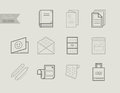 Flat Line Icons Of Print Design Products. Printing Industry Icon Royalty Free Stock Photo - 67700975