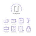 Flat Line Icons Of Print Design Products. Printing Industry Icon Royalty Free Stock Image - 67700976