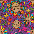 Cat Flower Petal Cute Seamless Pattern Royalty Free Stock Photos - 67703928