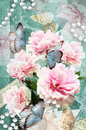 Postcard Flower. Congratulations Card With Peonies, Butterflies And Pearls. Beautiful Spring Pink Flower. Stock Image - 67707101