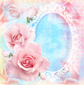 Holiday Tender Floral Card With Blooming Roses, Mirror And Text Field. Wedding Theme. Stock Image - 67707251
