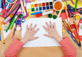 Child Drawing Top View. Artwork Workplace With Creative Accessories. Flat Lay Art Tools For Painting. Royalty Free Stock Images - 67715579