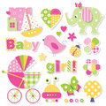 Baby Girl Shower Collection Royalty Free Stock Photography - 67733267