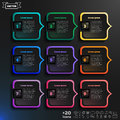 Vector Infographic Design With Colorful Squares On The Black Background. Stock Images - 67738624
