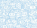 Seamless Pattern With Houses And Courtyards Royalty Free Stock Photography - 67746247