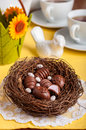 Easter Egg Shaped Chocolate Candies In A Nest Royalty Free Stock Image - 67759346