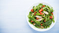 Fresh Salad With Chicken, Tomato And Greens (spinach, Arugula) Royalty Free Stock Image - 67760056