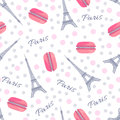 Seamless Pattern With Tasty Macaroons, Eiffel Tower, Paris And Dots Royalty Free Stock Images - 67763579