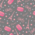 Seamless Pattern With Tasty Macaroons, Eiffel Tower, Paris, Bike And Dots Royalty Free Stock Photography - 67763637