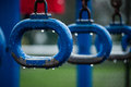 Monkey Bars Rings On A School Playground At Rainy Day Royalty Free Stock Images - 67774609